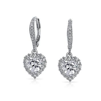 Bridal Heart Prom Dangle Earrings Pave CZ Halo Crown Silver Plated