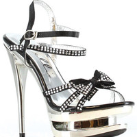 "Ellie Shoes Tess 6"" Rhinestone Strap Heel W-bow Black Ten"