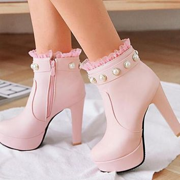 New Pink Round Toe Chunky Pearl Fashion Ankle Boots