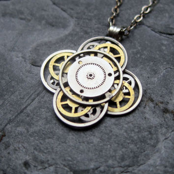 "Steampunk Flower Necklace ""Coded"" Elegant Recycled Steampunk Gear Pendant Mechanical Plant Pendant Petal Clover Luck Gift"