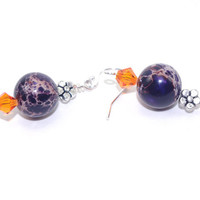Purple imperial jasper gemstone drop dangle earring, Orange Swarovski crystal, Sterling silver French hook, Silver bead, Dangly ear ring