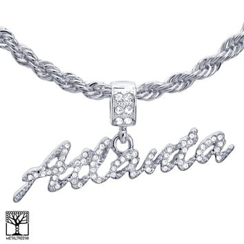 """Jewelry Kay style Men's 24"""" Chain Silver Plated Stoned ATLANTA Sign Pendant Necklace HC 1217 S"""