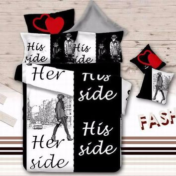 3D Her Side His Side bedding sets