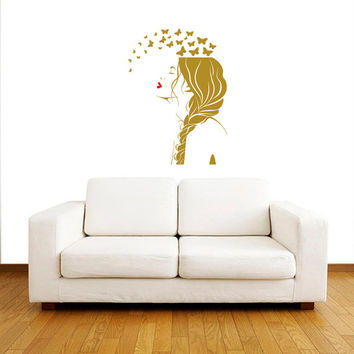 Wall Decals Beauty Salon Hair Braid Vinyl Decal Interior Decor Sticker Hairdresser Hairstyle Barbers Braiding Hairdo Face Butterflies ML105