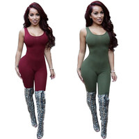 Sleeveless Elegant Jumpsuit 2016 Bodycon Backless Sexy One Piece Outfits Long Pants Club Jumpsuits And Rompers For Women 4Colors