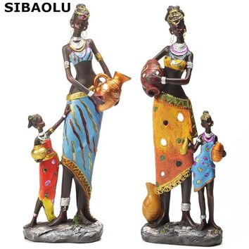 Home Decoration Accessories Figurines Antique Imitation Resin African Statues Mother And Baby Modern Abstract Sculpture Statue