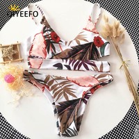 Oiyeefo Floral Leaves Bikini Swimsuit Women Swimwear Female Bathing Suits 2018 Monokini Beach Wear Plavky Sexy Woman Swim Suit