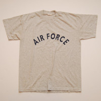 "Vintage 1990's ""Air Force"" T-Shirt Short Sleeves Armed Forces Military Tshirt Simple Basic Size Medium Gray Shirt Retro"