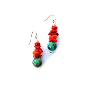 Red Coral and Magnesite stone drop earrings, Handmade with sterling silver and gemstones