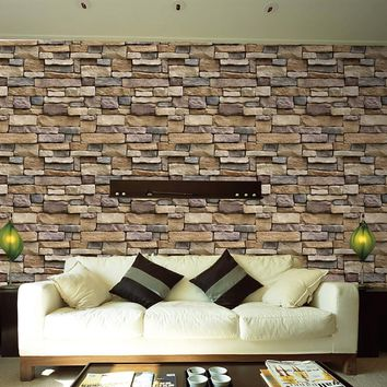 3D Wall Paper Brick Stone Rustic Effect Self-adhesive Wall Sticker Home Art Decor