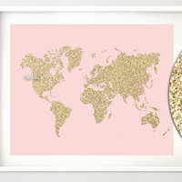 "10x8"" & 20x16"" Printable world map, golden glitter map print, gold wall art, baby girl nursery map, gold and blush pink nursery - map027 F"