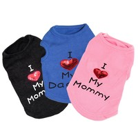 Dog Coat Pet Puppy Clothes for Small Dog Clothing Casual Spring Puppy Cat Sweatershirts Warm Hoodies Love Mommy Pet Apparel 35