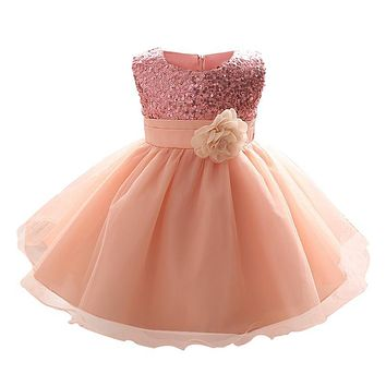 Sequins Baby Dress Flower Princess Infant Girls Dresses Ruffles Toddler Baby Girl Clothes Baby Tutu Christmas Baptism Clothing