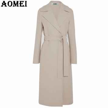 Women Fashion Long Wool Coats Beige Wear to Work Office Lady Outwear Clothing Tweed 2017 New Winter Fall Autumn Overcoat Cape
