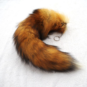 Real 1619 MOST RED Fox Fur Tail with White Tip by EvasFeathers