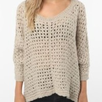 UrbanOutfitters.com > Kimchi Blue Open Stitch Cable Poncho Sweater