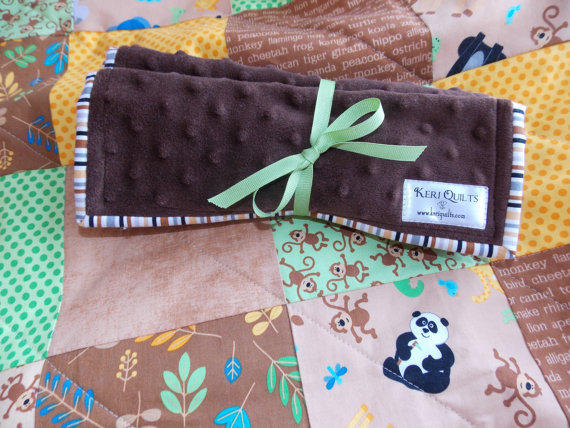 Baby Boy Burp Cloth Set of 2 in Brown Minky and White Terry Cloth