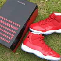 Air Jordan 11 Retro AJ11 All Red Color Nike Sport Basketball Shoes loveclubs