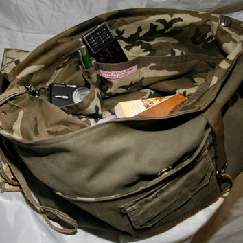 Military Messenger Bag, Khaki Canvas Shoulder Bag - Unisex - Vintage fabric