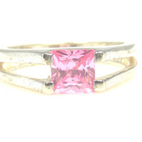Vintage Pale Pink Princess Cut CZ Ring Sterling Silver Size 7