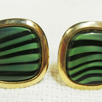 Vintage Swirled Green and Black Cuff Links
