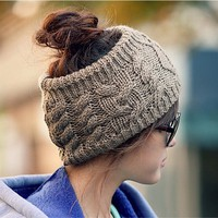 Fashion Korean Winter Warm Women Braided Knit Wool Hat Cap Headband Hair Bands