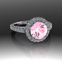 Halo Engagement Ring Pink Topaz and Diamonds 2.72 CTW