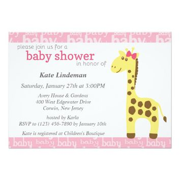 Giraffe in Pink Bow Baby Shower for Girl 5x7 Paper Invitation Card