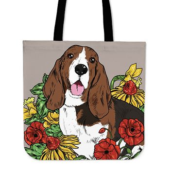 Illustrated Hound Linen Tote Bag
