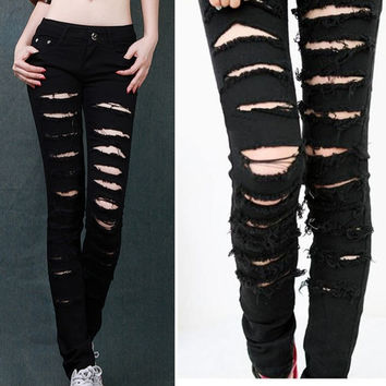 Women's Black Cotten Denim Punk Ripped Jeans Sexy Slim Cut Off Leggings s M L = 1930291012