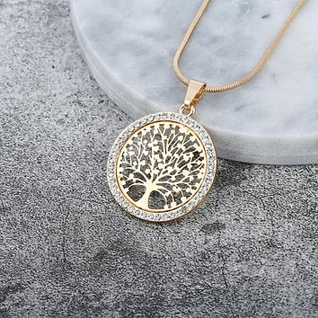 Hot Tree of Life Crystal Round Small Pendant Necklace Gold Silver Colors Bijoux Collier Elegant Women Jewelry Gifts ping