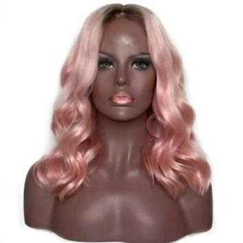 Brazilian Remy Pink Ombre Color Lace Front Human Hair Wig- Dazzle