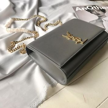 DCCK 001 Saint Laurent Paris YSL Leather Crossbody handbag 22-16-5cm Gray