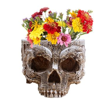 P-Flame Hand Carved Flower Pot Human Skull Planter Garden Container Macetas Modern Home Decor For Decoration