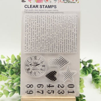 1 sheet DIY Number sign background Design Transparent Clear Rubber Stamp Seal Paper Craft Scrapbooking Decoration