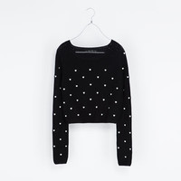 SWEATER WITH EMBROIDERED HEARTS - Knitwear - Woman | ZARA United States