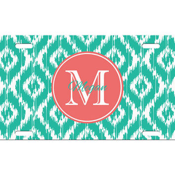 Custom Personalized License Plate Car Tag Preppy Ikat Initial Monogram Sorority 16th Birthday Girls Gift Aluminum Front Car Plate LP-1002