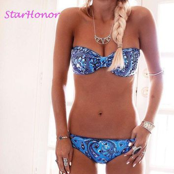 DCCKL6D StarHonor  Woman Digital Printing  Two-Piece Suits Swimwear Retro Halter Bow-knot Swimsuit Bandange Bra Bikinis Set Push Up