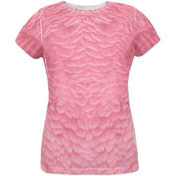 LMFCY8 Halloween Pink Flamingo Costume All Over Womens T Shirt