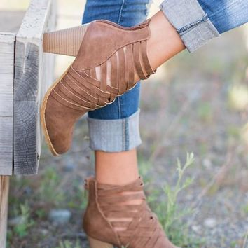 New Light Brown Round Toe Chunky Cut Out Fashion Ankle Boots
