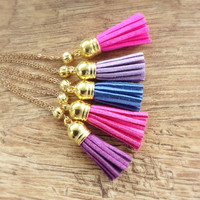 Purple Tassel Necklace, Long Boho Necklace, Bohemian Tassel Necklace, Long Purple Tassel, Gold and Purple, Gift Idea, Ready to Ship