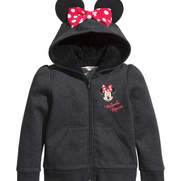 H&M - Hooded Jacket with Ears - Black/Minnie Mouse - Kids