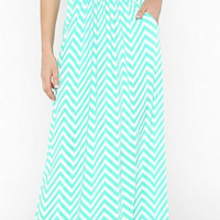 Afternoon in the Shade Chevron Maxi Dress - Mint