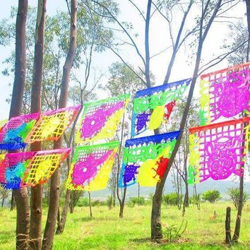 Mexican Party Decor, Papel Picado banner 16 feet long, bunting garland LARGE, fiesta decorations