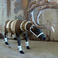 Christmas Reindeer heirloom decoration: Special Christmas one-of-a-kind table centrepiece or home decoration