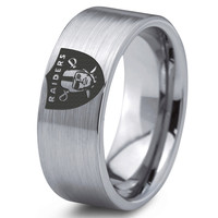 Oakland Raiders Ring Mens Fanatic NFL Sports Football Boys Girls Womens NFL Jewelry Fathers Day Gift Tungsten Carbide 099