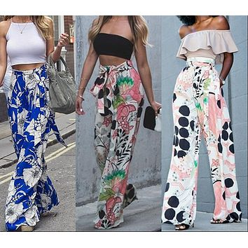 Summer Women Fashion Loose Stretch High Waist Wide Leg Long Pants Palazzo Floral Trousers Hot Women Harems Pants