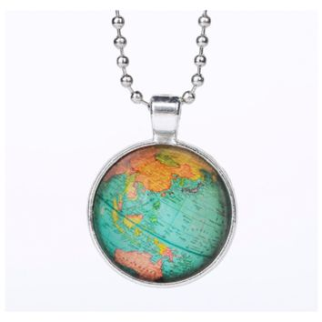 Vintage Globe Planet Earth World Map Pendant Necklace