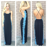 Black & Blue Stream Tie Dye Maxi Dress