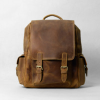 "Handmade Vintage Leather Backpack /  Leather Travel Bag/ 15"" MacBook  Bag D40"